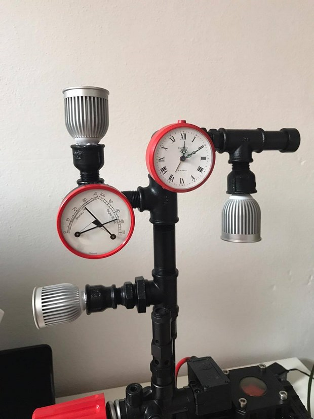 recycled steel pipes diy clock hydro temperature meter