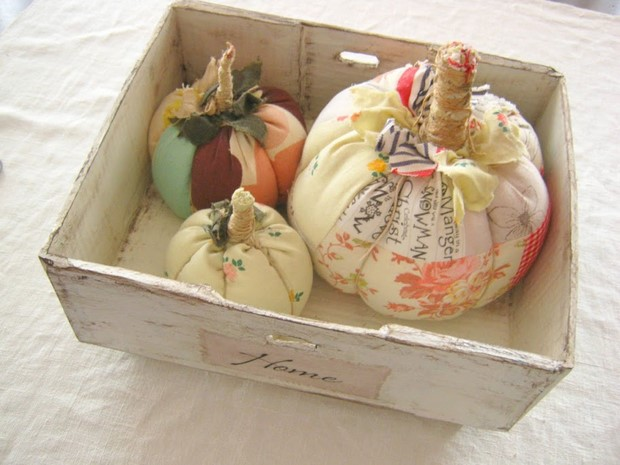 stuffed fabric pumpkin scraps colorful shabby chic