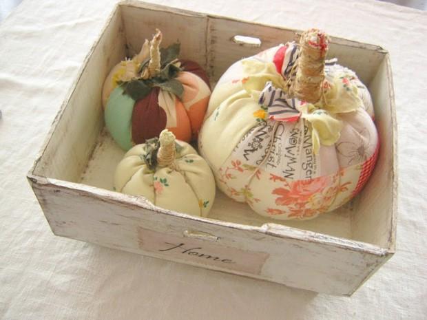 stuffed fabric pumpkin scraps colorful shabby chic