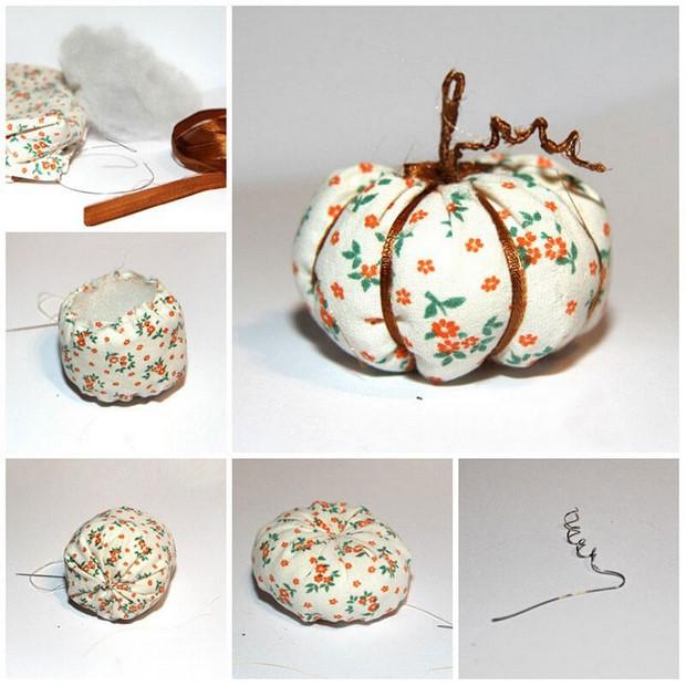 stuffed fabric pumpkin sewing tutorial ribbon wire