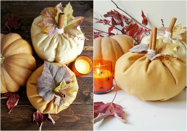 stuffed fabric pumpkin yellowfaux leaves cinnamon sticks halloween