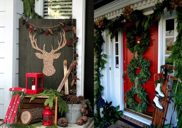 christmas porch amazing decor sledges wreaths red candle holders wooden logs