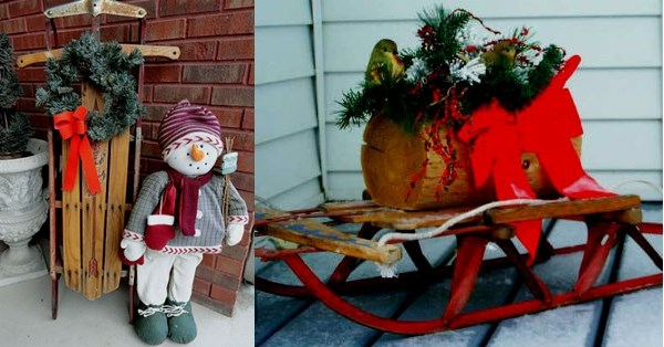 christmas red painted old sleds wooden logs snowman decor