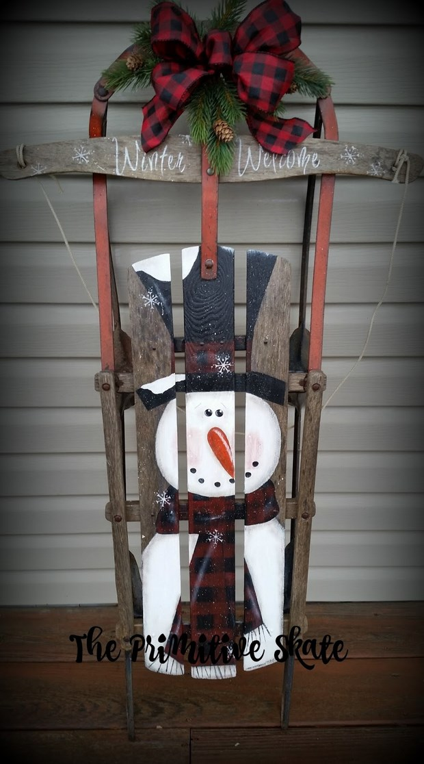 christmas sleds painted snowman front door porch decor