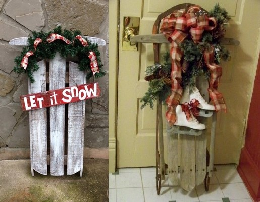 christmas sleds reused pallets front door decoration idea