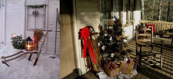 christmas unwanted wooden upcycled sledges porch decor