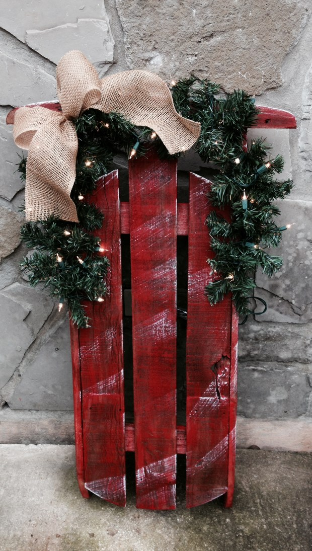 upcycled red wooden christmas sleds pallets outdoor decor - Wooden Sled Decoration Christmas