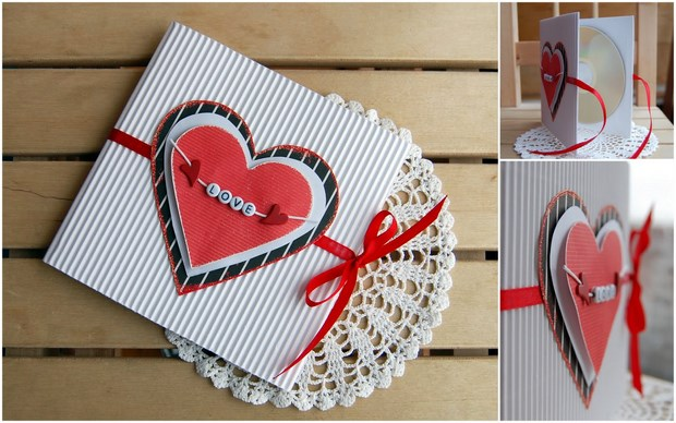 valentines day craft paper cd holder handmade lovely gift idea
