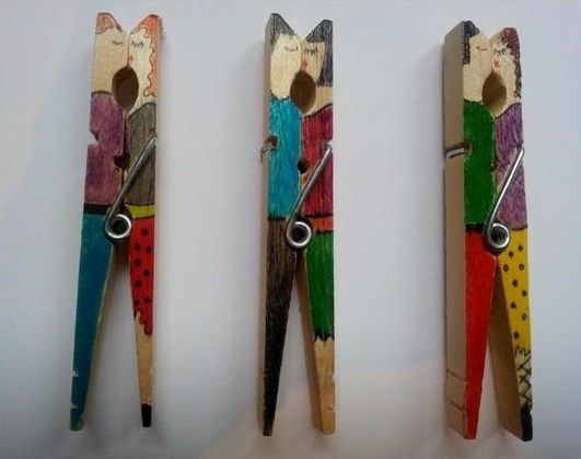 valentine crafts clothespin painted lovely couple easy decor idea