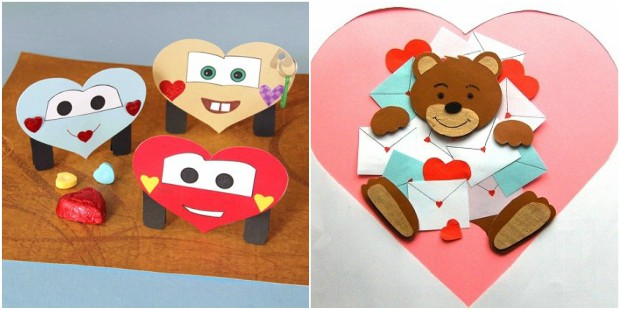valentines day crafts paper heart bear smiles diy kids ideas