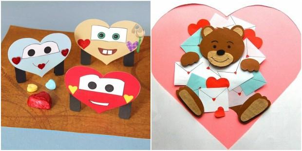 valentines day crafts paper heart bear smiles diy kids ideas