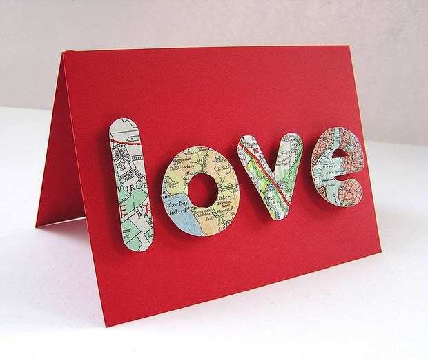 valentine crafts red card reused travel map letters