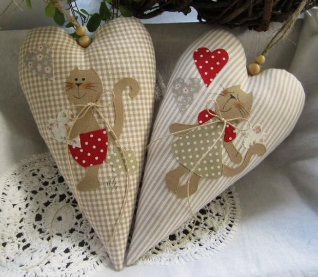 valentines day diy cotton hearts cats lovely decoration idea