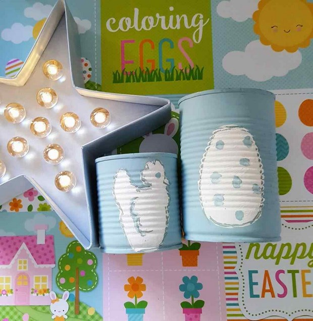 easter crafts blue reused cans egg decor idea