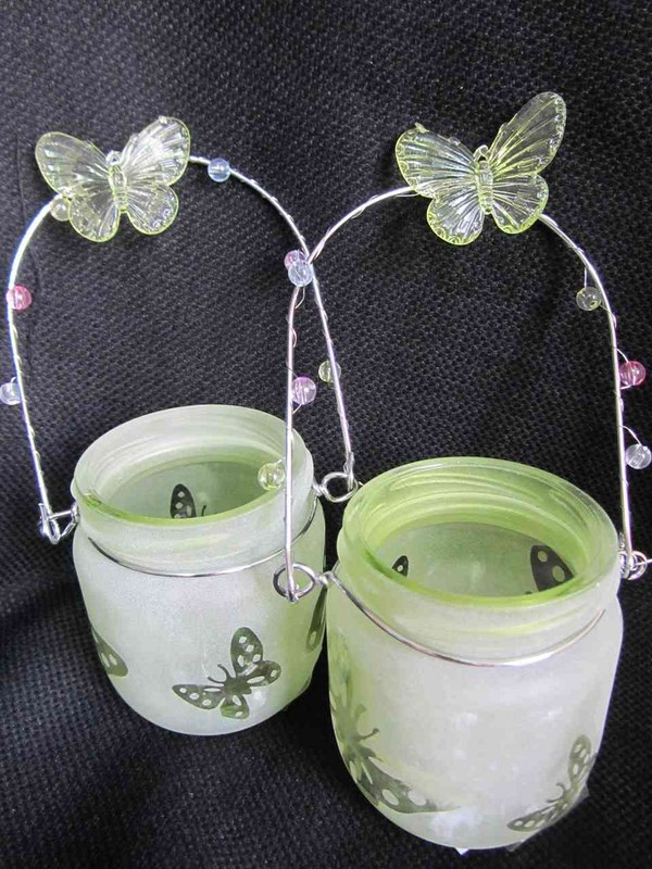 easter crafts candle holder glass jars butterfly