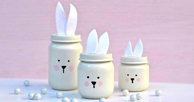 easter crafts diy kids painted bunny glass jars creative decoration