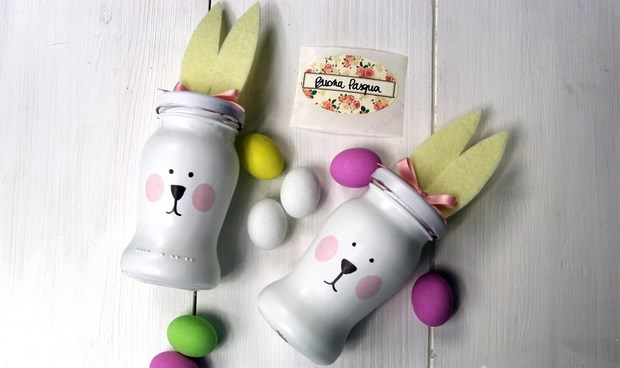 easter crafts reused glass jars bunny shaped home decor idea