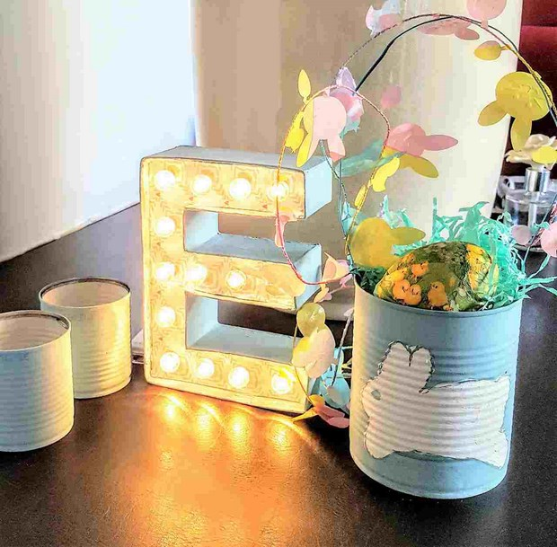 easter crafts upcycled bunny tin can table centerpiece