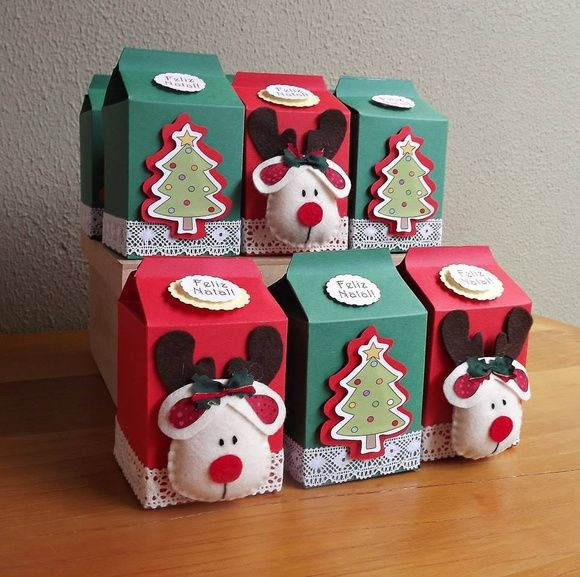 recycle milk cartons christmas gift boxes tree deer decorated