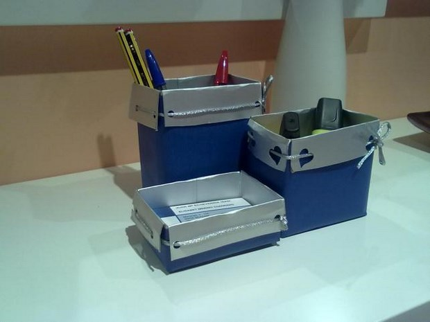 upcycled milk cartons desktop blue pen organisers