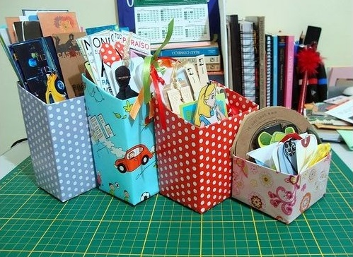 recycle milk cartons desktop organisers color paper wrapped
