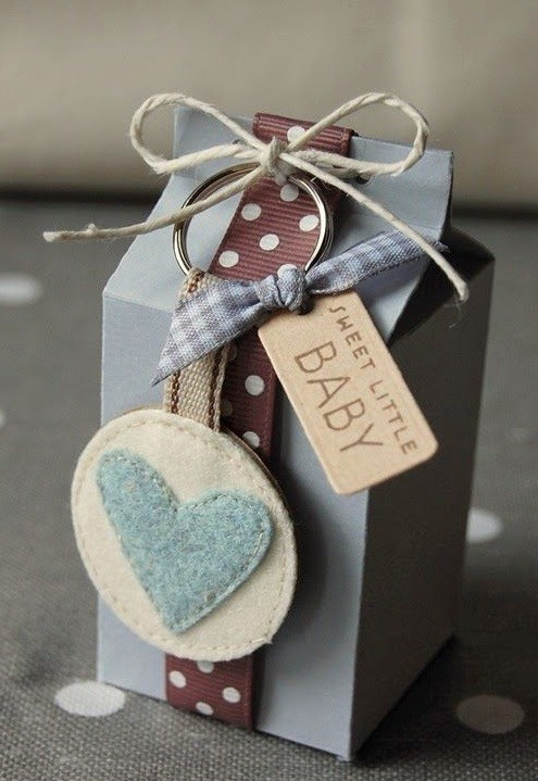 recycle milk cartons diy baby gift blue heart decorated