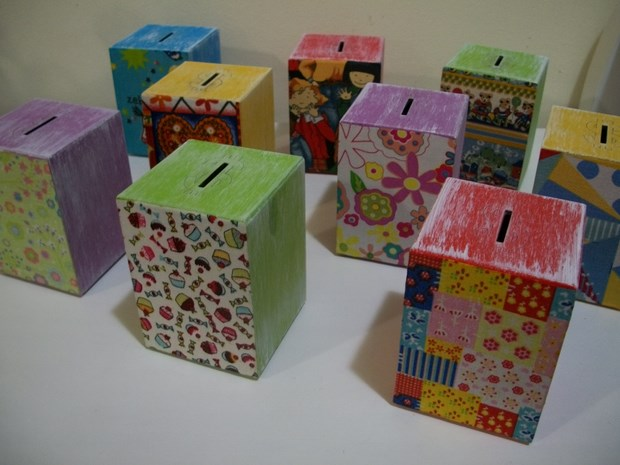 recycle milk cartons diy coin boxes colorful kids decoration