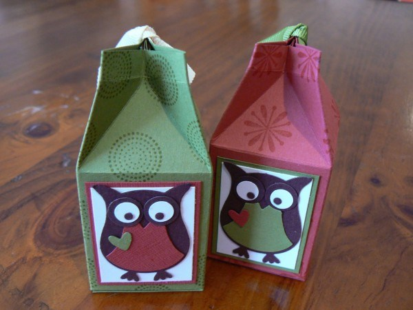 recycle milk cartons diy gift box owl decorated red green