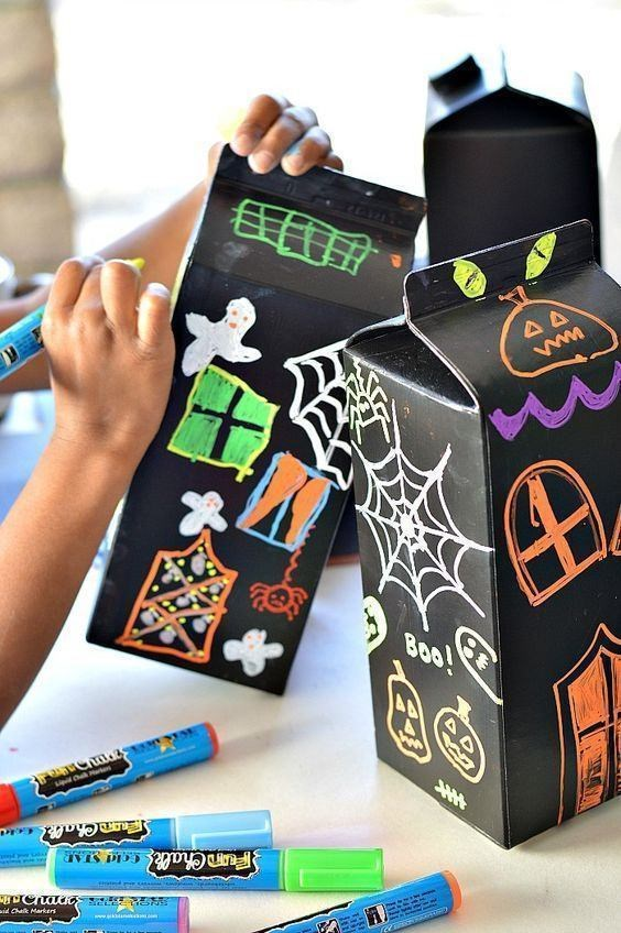 recycled milk cartons halloween scary house kids craft