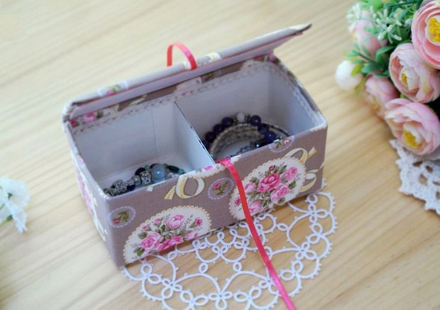 recycle milk cartons jewelry box wrapped colorful paper decor