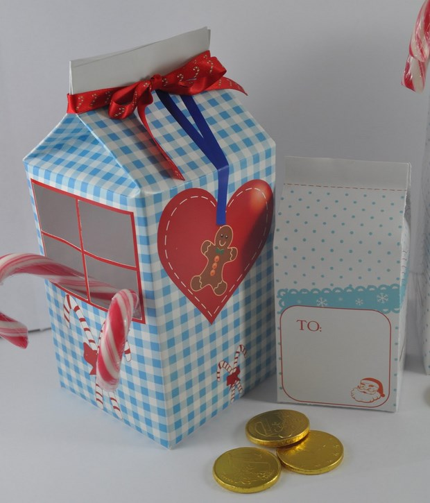 recycle milk cartons mini diy house gift box red ribbon inspiring idea