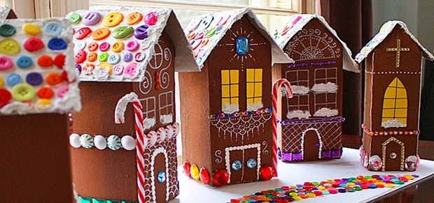 recycled milk cartons mini diy houses kids crafts colorful buttons roof