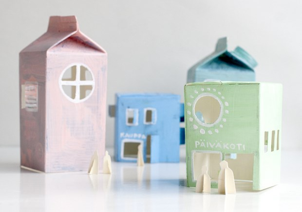 recycle milk cartons mini houses kids projects
