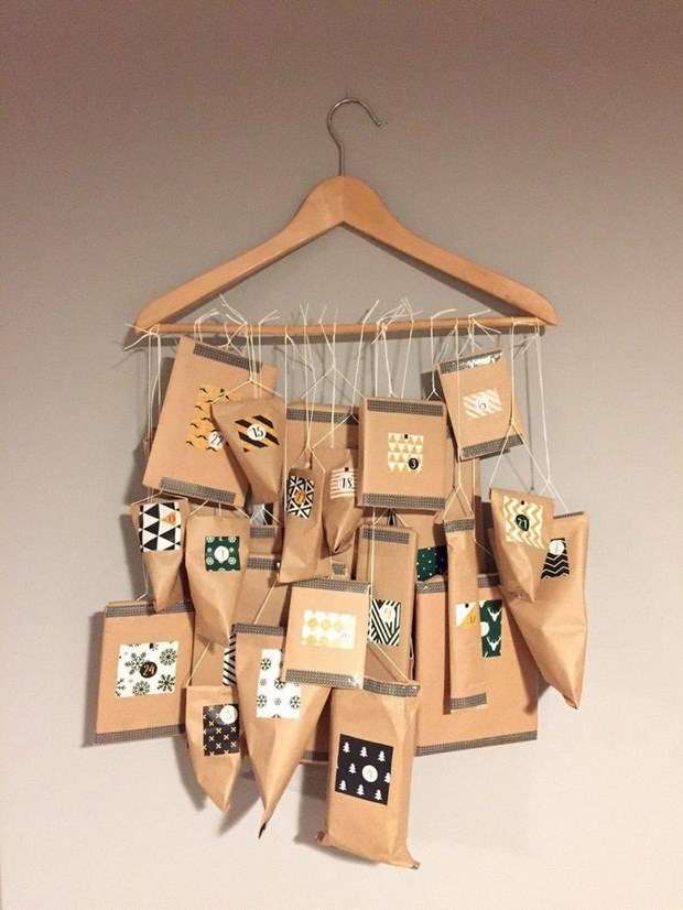 reuse clothes hangers diy cardboard advent calendar christmas idea