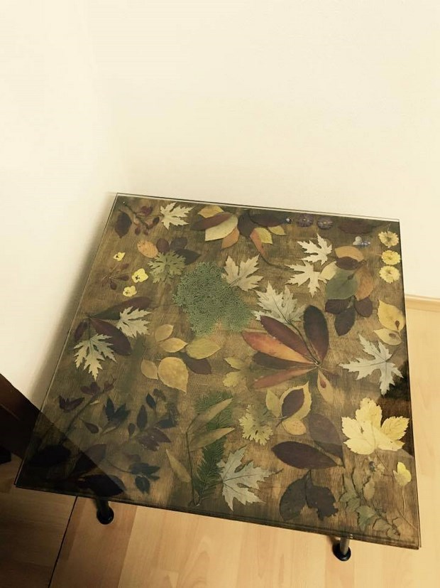 coffee table with glass table top upgrade with dried autumn leaves