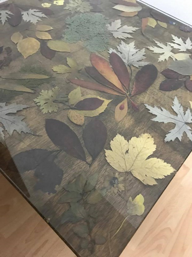 how to preserve autumn leaves and create this coffee table makeover