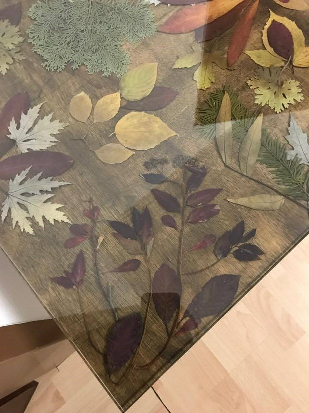 preserving fall leaves color for home decoration coffee table redo